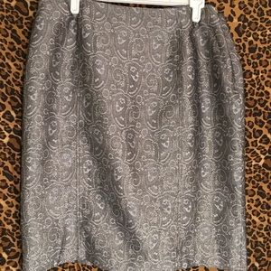 Evan-Picone silver and gold brocade skirt